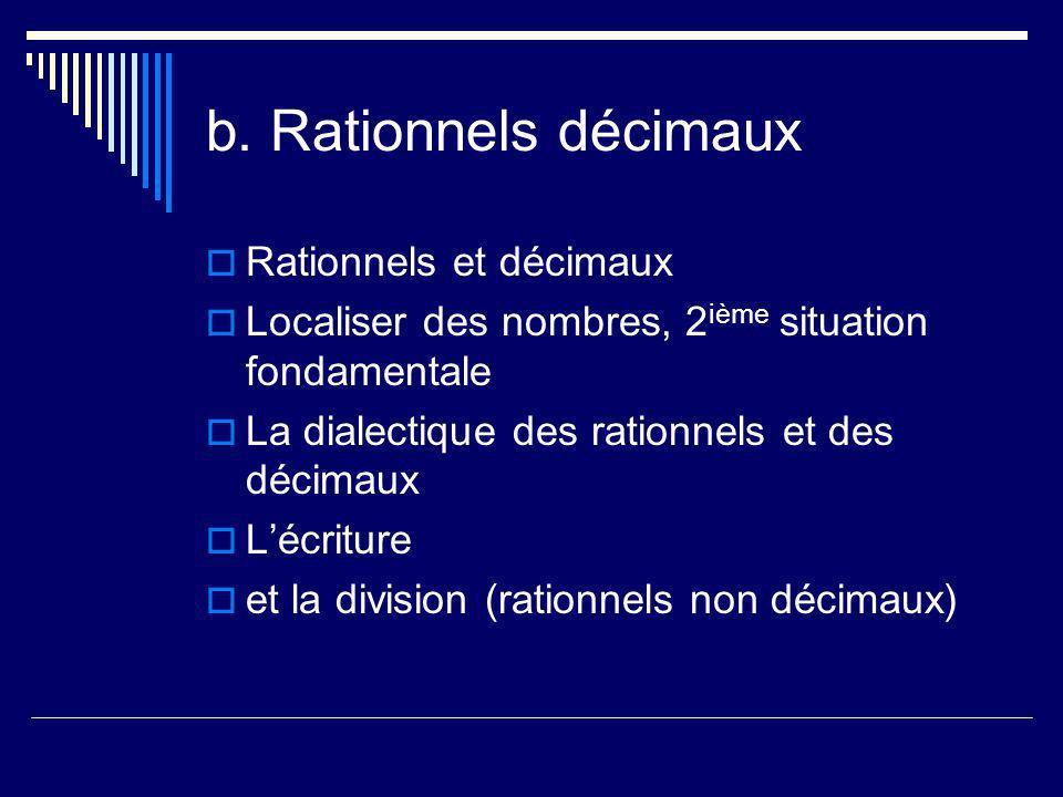b. Rationnels décimaux Rationnels et décimaux Localiser des nombres, 2 ième situation fondamentale La dialectique des rationnels et des décimaux Lécri