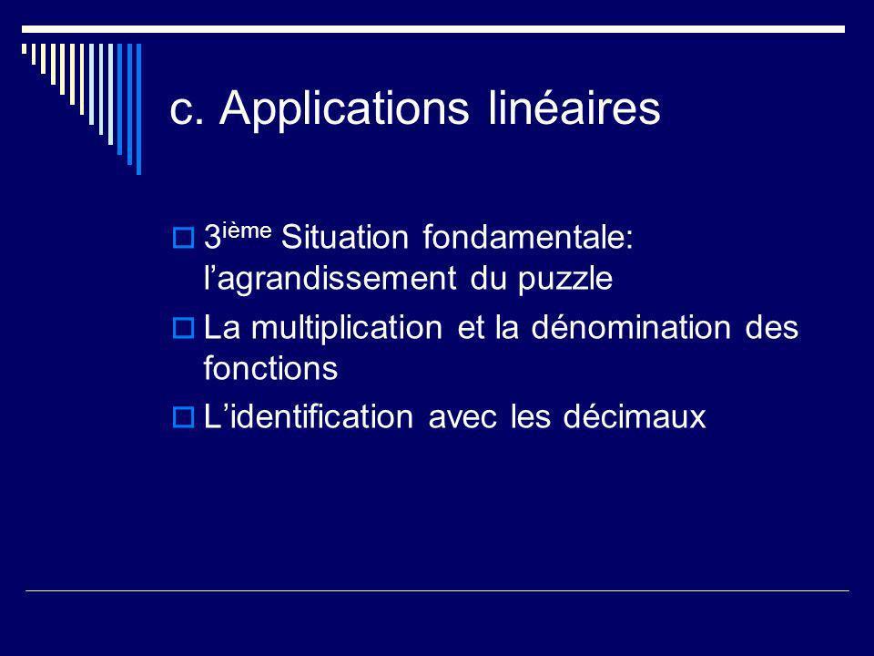 c. Applications linéaires 3 ième Situation fondamentale: lagrandissement du puzzle La multiplication et la dénomination des fonctions Lidentification