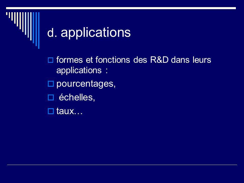 d. applications formes et fonctions des R&D dans leurs applications : pourcentages, échelles, taux…