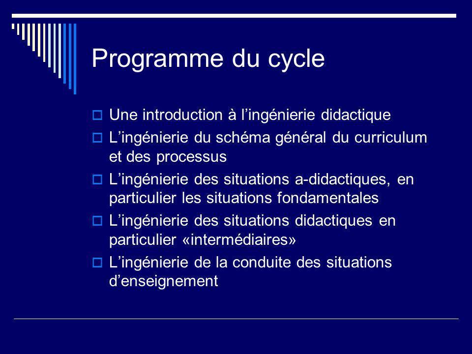 Programme du cycle Une introduction à lingénierie didactique Lingénierie du schéma général du curriculum et des processus Lingénierie des situations a