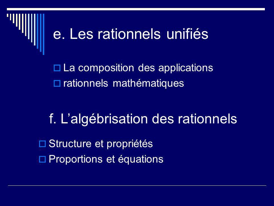 e. Les rationnels unifiés La composition des applications rationnels mathématiques f. Lalgébrisation des rationnels Structure et propriétés Proportion