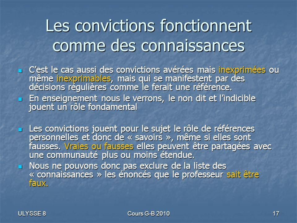 ULYSSE 8Cours G-B 201017 Les convictions fonctionnent comme des connaissances Cest le cas aussi des convictions avérées mais inexprimées ou même inexp