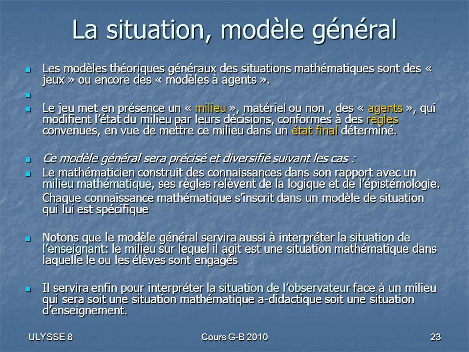 ULYSSE 8Cours G-B 201023 La situation, modèle général Les modèles théoriques généraux des situations mathématiques sont des « jeux » ou encore des « m