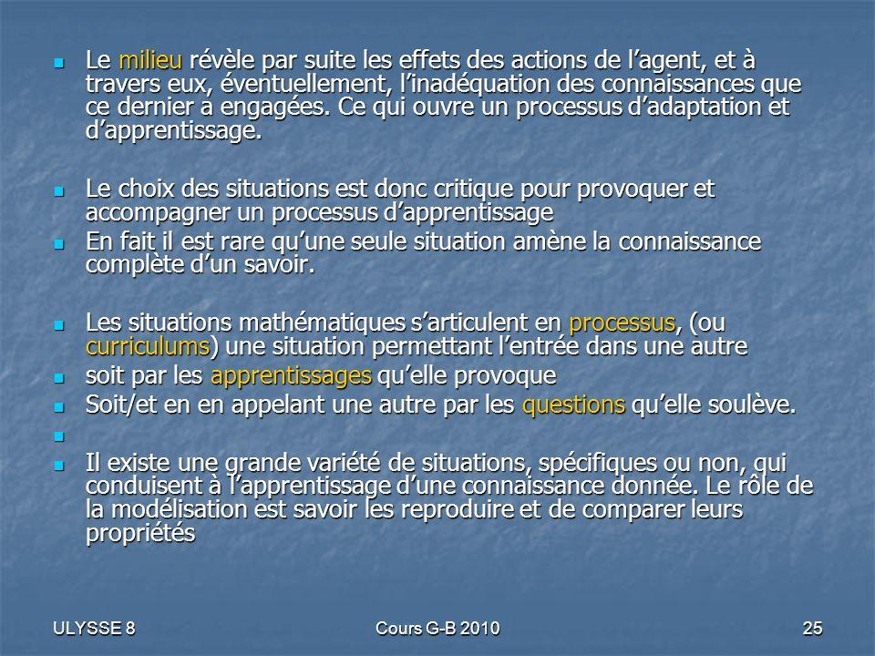 ULYSSE 8Cours G-B 201025 Le milieu révèle par suite les effets des actions de lagent, et à travers eux, éventuellement, linadéquation des connaissance