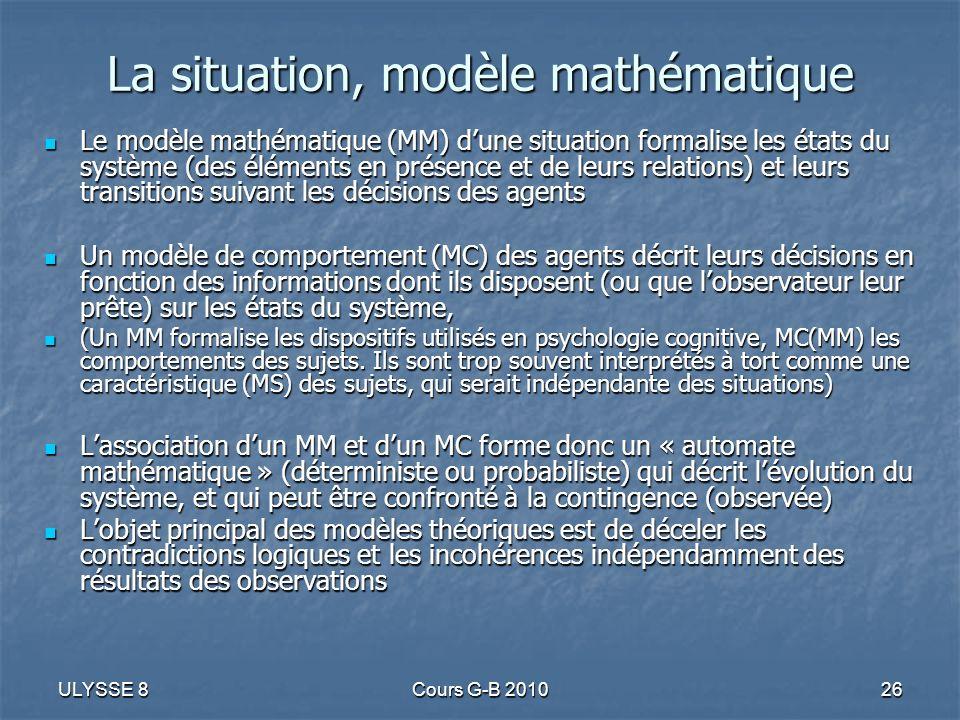 ULYSSE 8Cours G-B 201026 La situation, modèle mathématique Le modèle mathématique (MM) dune situation formalise les états du système (des éléments en