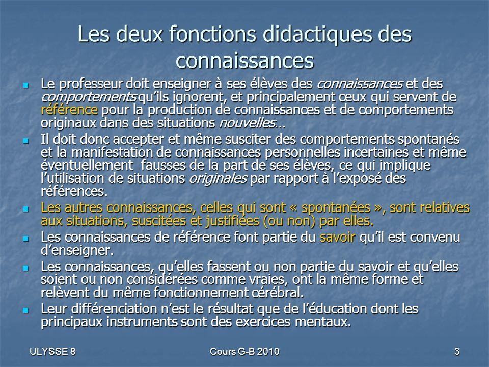 ULYSSE 8Cours G-B 201034 Composants généraux des situations Les interactions dun actant avec son milieu peuvent être classées: en actions, gestes qui modifient le milieu et qui expriment une décision, elle-même justifiée par une « connaissance », explicitable et justifiée ou non.