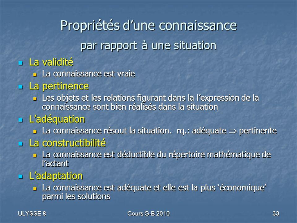 ULYSSE 8Cours G-B 201033 Propriétés dune connaissance par rapport à une situation La validité La validité La connaissance est vraie La connaissance es