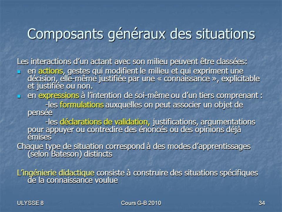 ULYSSE 8Cours G-B 201034 Composants généraux des situations Les interactions dun actant avec son milieu peuvent être classées: en actions, gestes qui