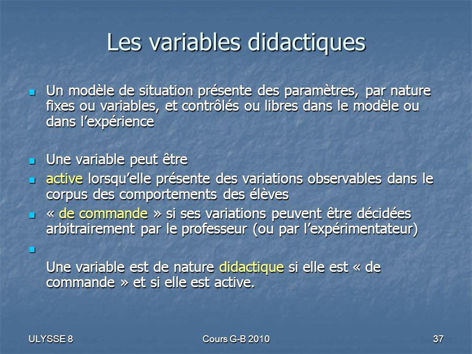ULYSSE 8Cours G-B 201037 Les variables didactiques Un modèle de situation présente des paramètres, par nature fixes ou variables, et contrôlés ou libr