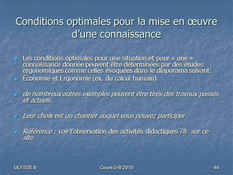 ULYSSE 8Cours G-B 201044 Conditions optimales pour la mise en œuvre dune connaissance Les conditions optimales pour une situation et pour « une » conn