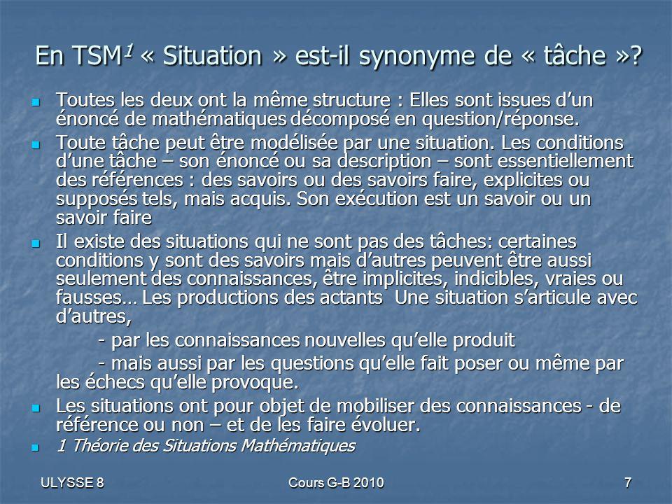 ULYSSE 8Cours G-B 20107 En TSM 1 « Situation » est-il synonyme de « tâche »? Toutes les deux ont la même structure : Elles sont issues dun énoncé de m