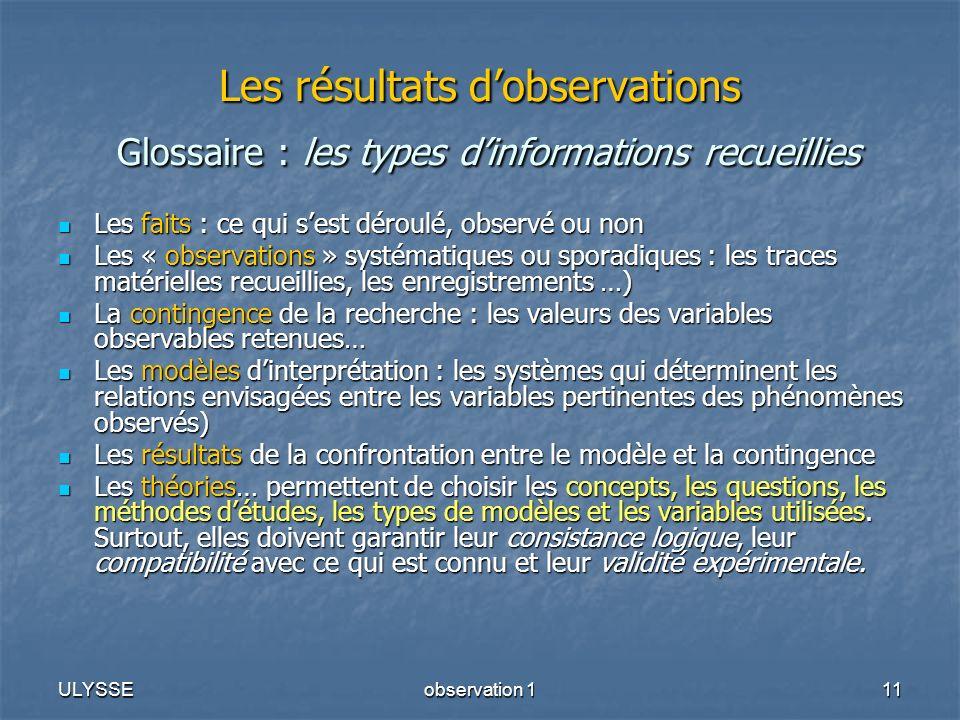 ULYSSEobservation 111 Les résultats dobservations Glossaire : les types dinformations recueillies Les faits : ce qui sest déroulé, observé ou non Les