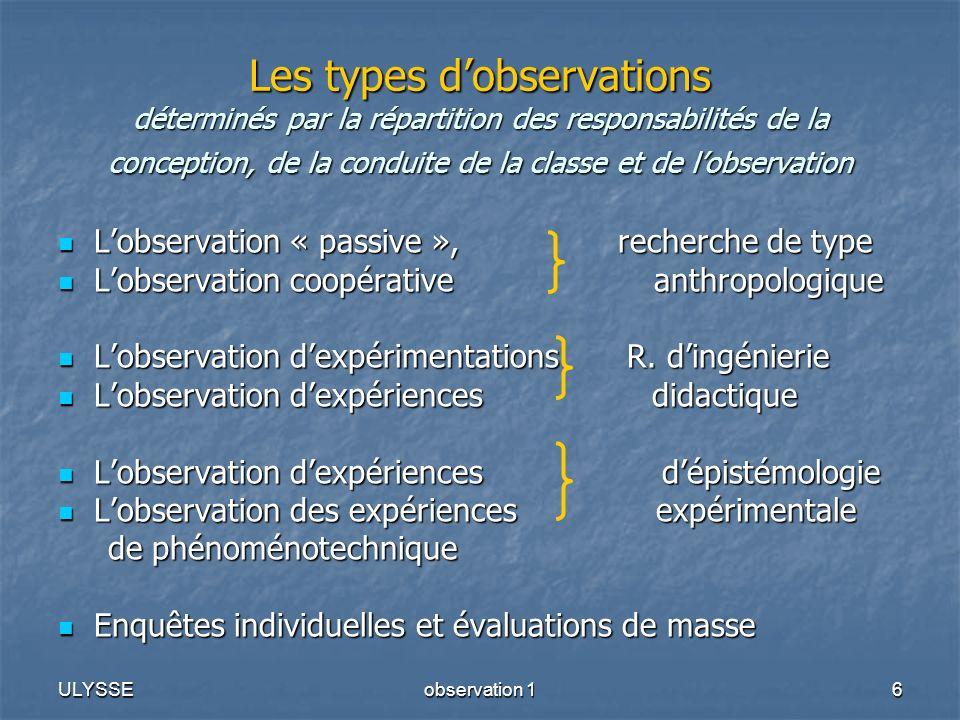 ULYSSEobservation 16 Les types dobservations déterminés par la répartition des responsabilités de la conception, de la conduite de la classe et de lob