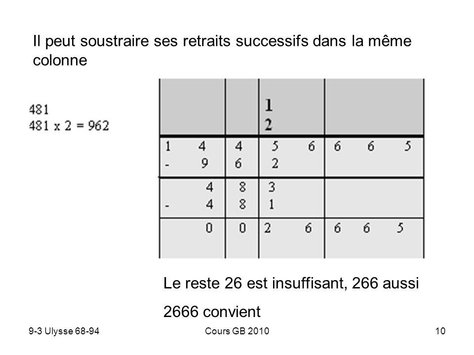 9-3 Ulysse 68-94Cours GB 201010 Il peut soustraire ses retraits successifs dans la même colonne Le reste 26 est insuffisant, 266 aussi 2666 convient