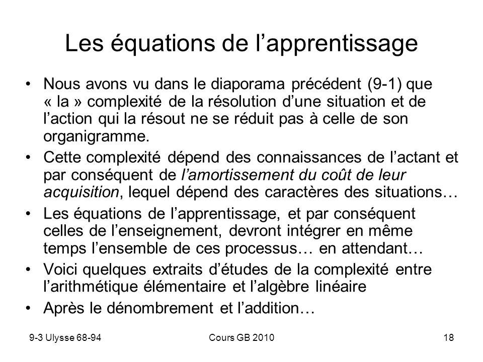 9-3 Ulysse 68-94Cours GB 201018 Les équations de lapprentissage Nous avons vu dans le diaporama précédent (9-1) que « la » complexité de la résolution dune situation et de laction qui la résout ne se réduit pas à celle de son organigramme.