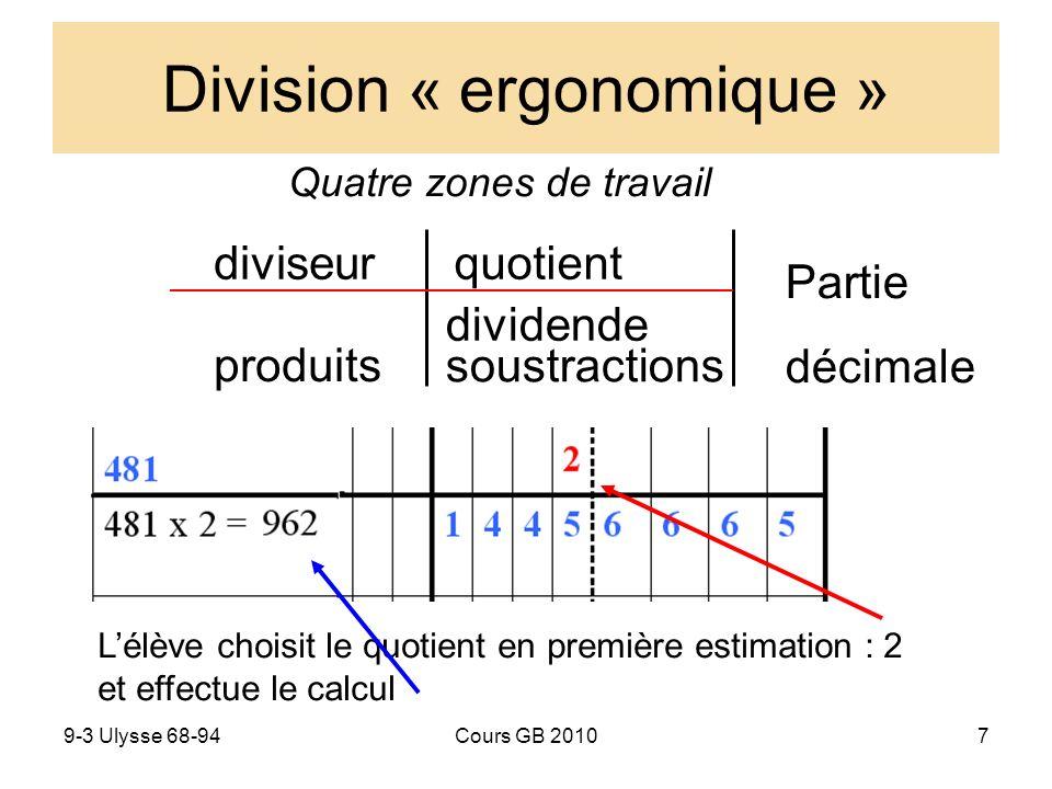 9-3 Ulysse 68-94Cours GB 20107 Division « ergonomique » Quatre zones de travail dividende quotient Partie décimale soustractions diviseur produits Lélève choisit le quotient en première estimation : 2 et effectue le calcul