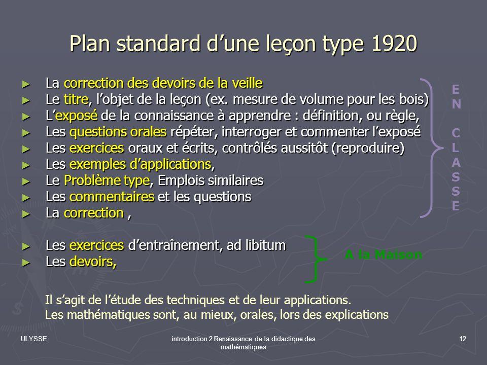 ULYSSEintroduction 2 Renaissance de la didactique des mathématiques 12 Plan standard dune leçon type 1920 La correction des devoirs de la veille La co