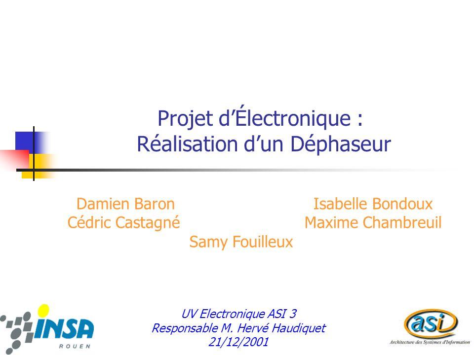 Projet dÉlectronique : Réalisation dun Déphaseur Damien BaronIsabelle Bondoux Cédric CastagnéMaxime Chambreuil Samy Fouilleux UV Electronique ASI 3 Responsable M.