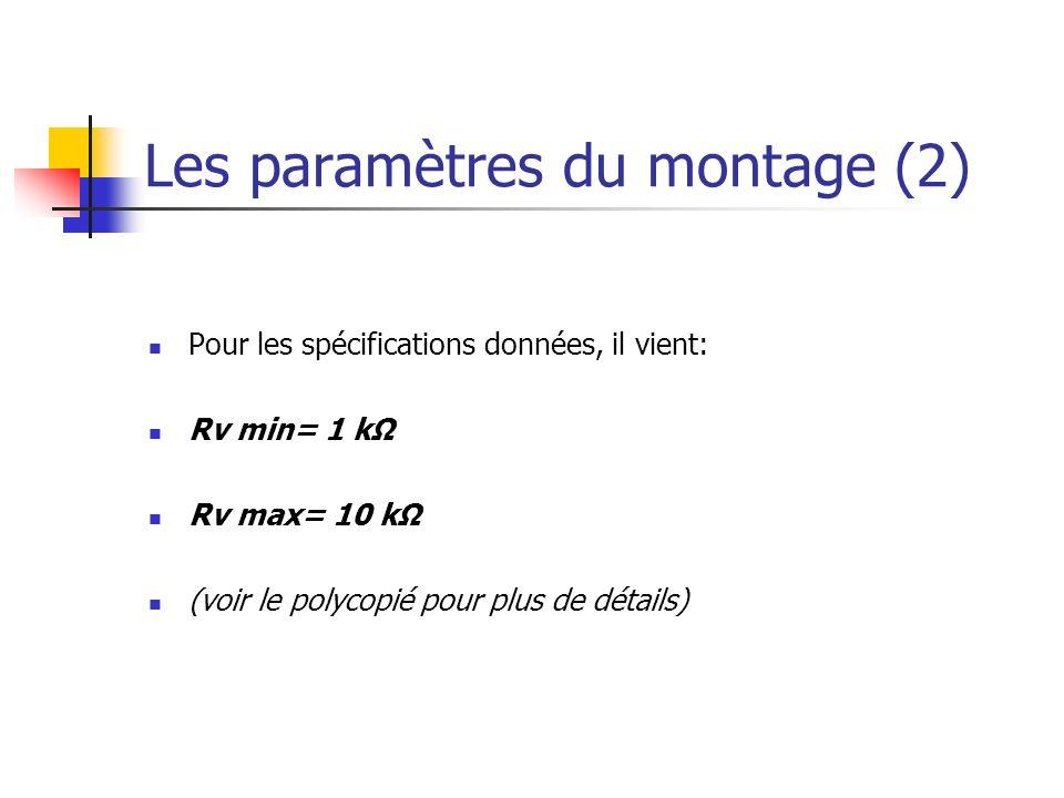 Les paramètres du montage (2) Pour les spécifications données, il vient: Rv min= 1 kΩ Rv max= 10 kΩ (voir le polycopié pour plus de détails)