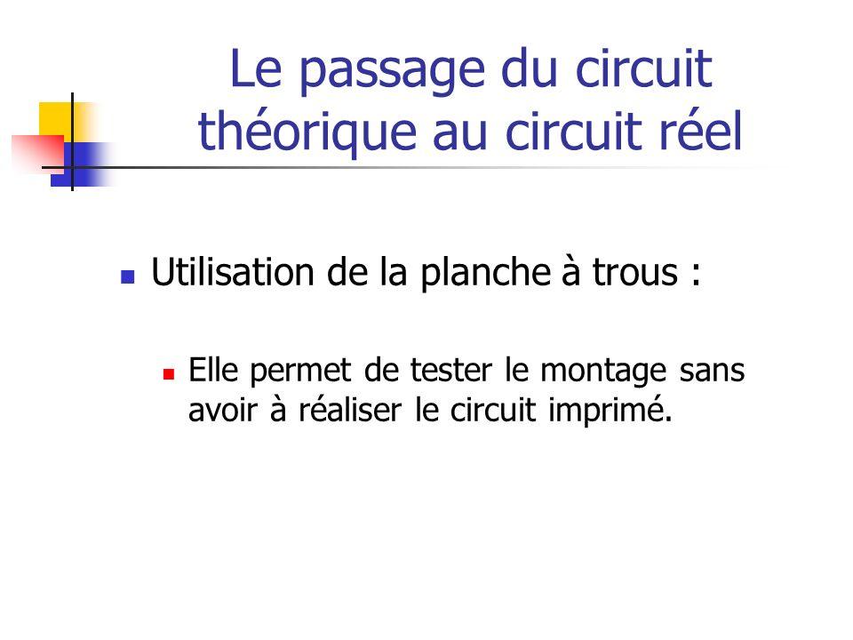 Le passage du circuit théorique au circuit réel Utilisation de la planche à trous : Elle permet de tester le montage sans avoir à réaliser le circuit imprimé.