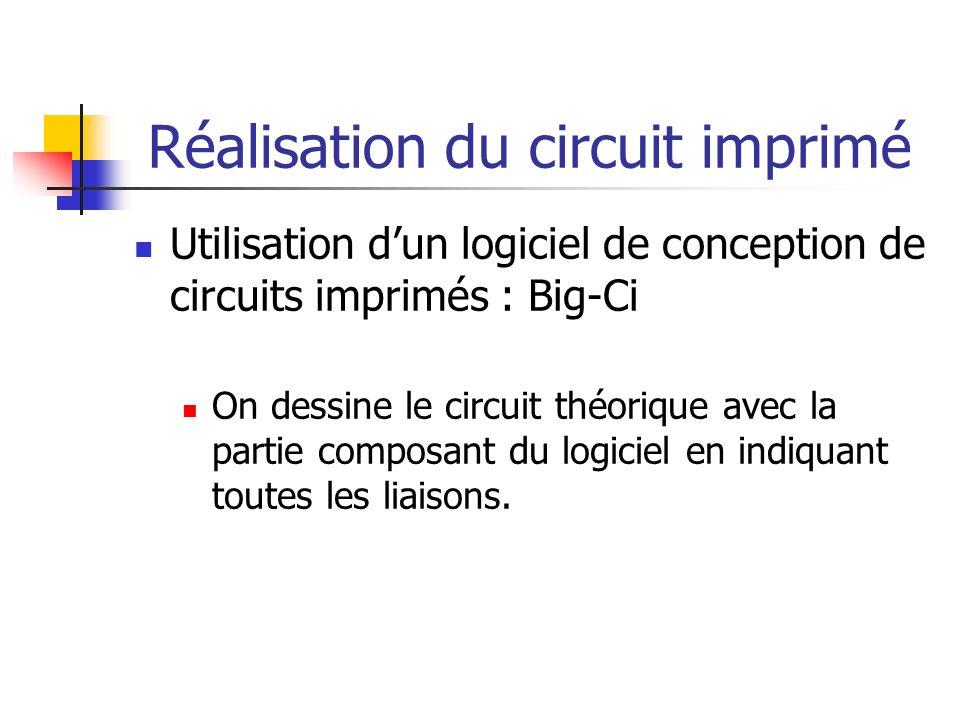 Réalisation du circuit imprimé Utilisation dun logiciel de conception de circuits imprimés : Big-Ci On dessine le circuit théorique avec la partie composant du logiciel en indiquant toutes les liaisons.