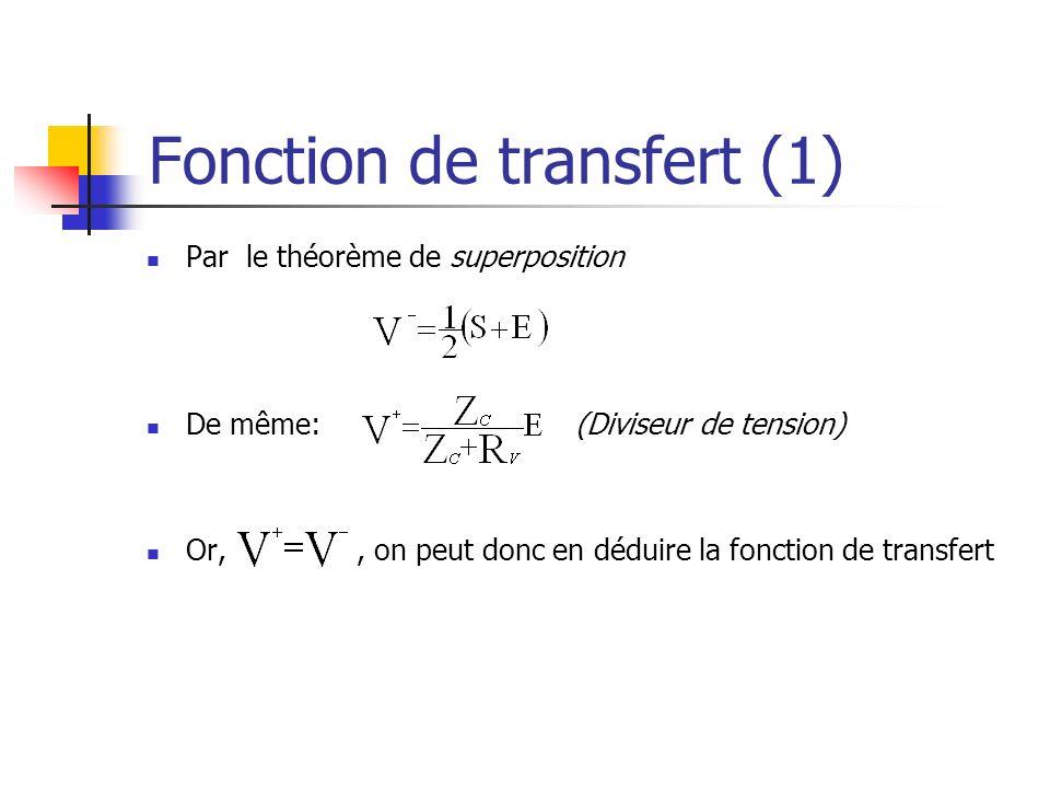Fonction de transfert (1) Par le théorème de superposition De même: (Diviseur de tension) Or,, on peut donc en déduire la fonction de transfert