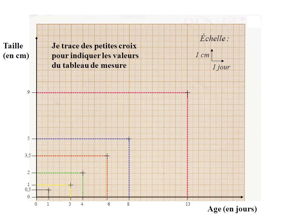 Taille (en cm) Age (en jours) Échelle : 1 cm 1 jour 01346813 9 5 3,5 2 1 0,5 0 Je trace des petites croix pour indiquer les valeurs du tableau de mesure