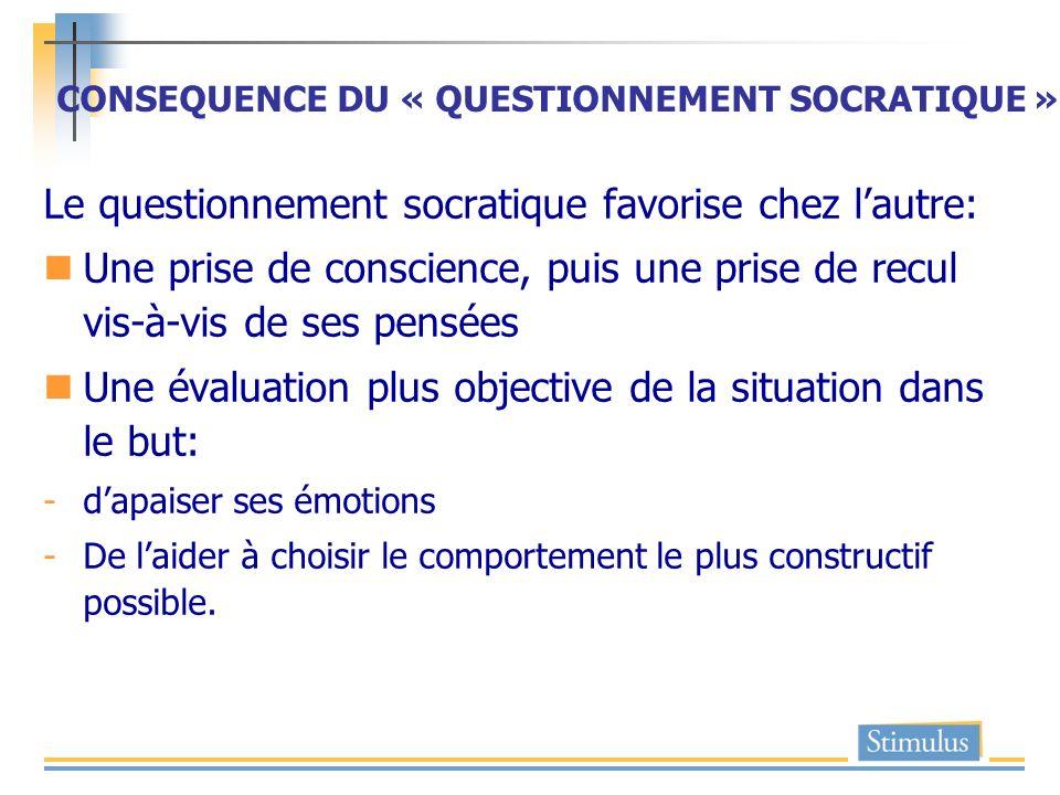 CONSEQUENCE DU « QUESTIONNEMENT SOCRATIQUE » Le questionnement socratique favorise chez lautre: Une prise de conscience, puis une prise de recul vis-à