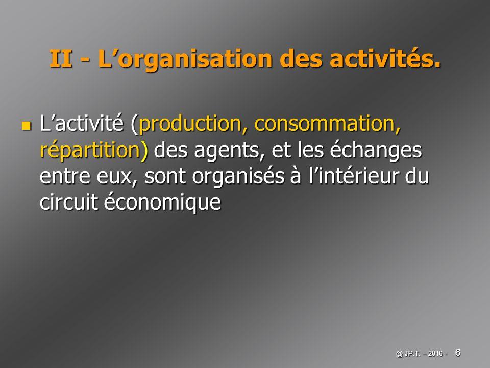 @ JP.T. – 2010 - 6 II - Lorganisation des activités. Lactivité (production, consommation, répartition) des agents, et les échanges entre eux, sont org