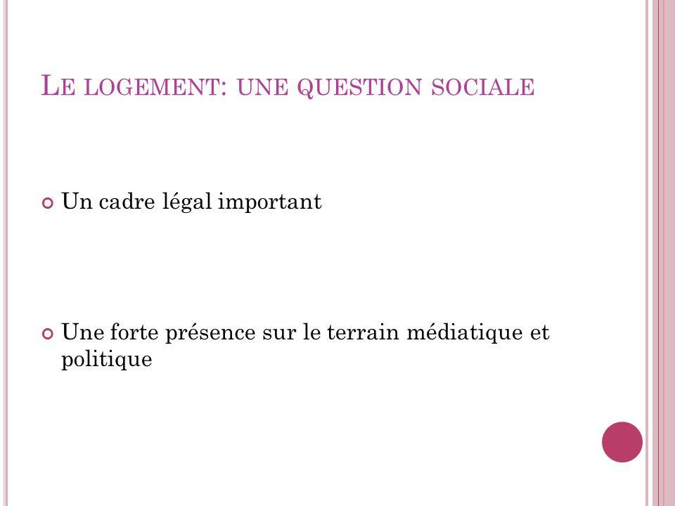 L E LOGEMENT : UNE QUESTION SOCIALE Un cadre légal important Une forte présence sur le terrain médiatique et politique