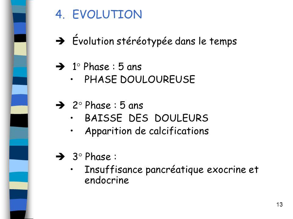 13 4.EVOLUTION Évolution stéréotypée dans le temps 1° Phase : 5 ans PHASE DOULOUREUSE 2° Phase : 5 ans BAISSE DES DOULEURS Apparition de calcification