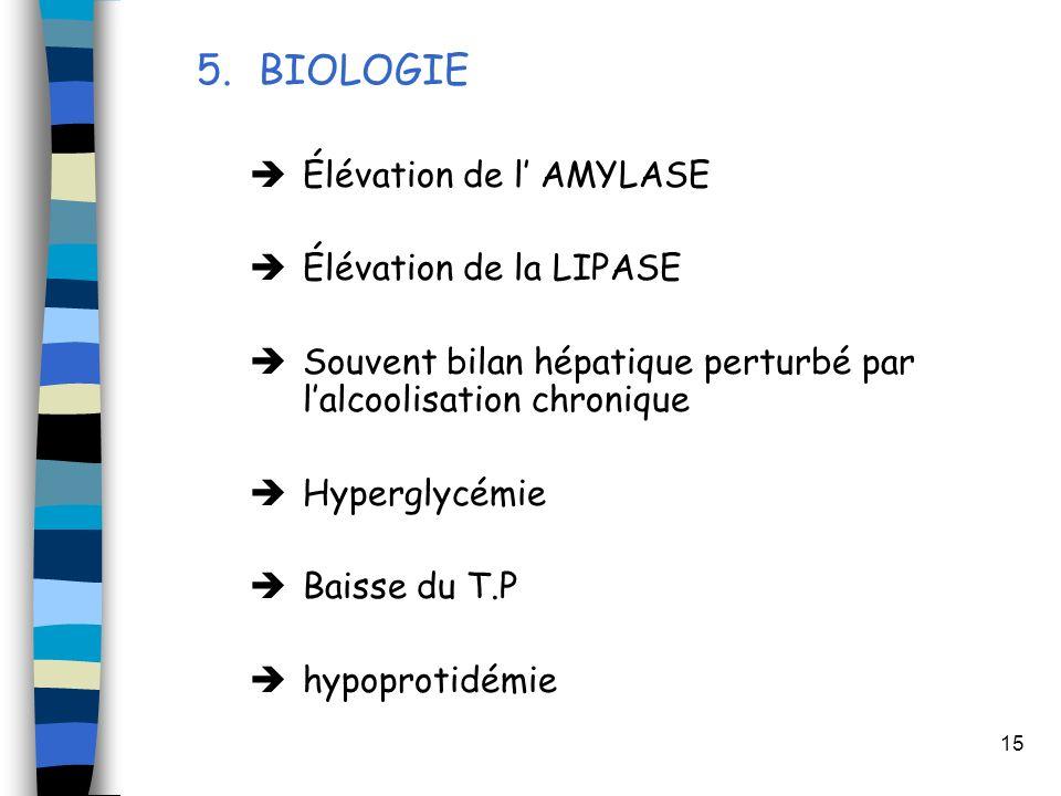 15 5.BIOLOGIE Élévation de l AMYLASE Élévation de la LIPASE Souvent bilan hépatique perturbé par lalcoolisation chronique Hyperglycémie Baisse du T.P