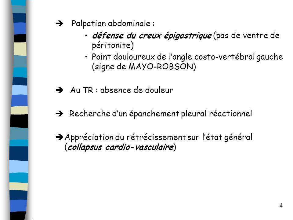 4 Palpation abdominale : défense du creux épigastrique (pas de ventre de péritonite) Point douloureux de langle costo-vertébral gauche (signe de MAYO-