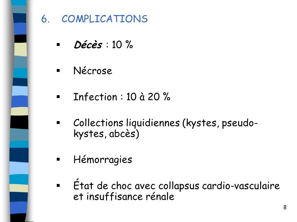 8 6. COMPLICATIONS Décès : 10 % Nécrose Infection : 10 à 20 % Collections liquidiennes (kystes, pseudo- kystes, abcès) Hémorragies État de choc avec c