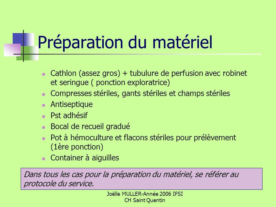 Joëlle MULLER-Année 2006 IFSI CH Saint Quentin Préparation du matériel Cathlon (assez gros) + tubulure de perfusion avec robinet et seringue ( ponctio