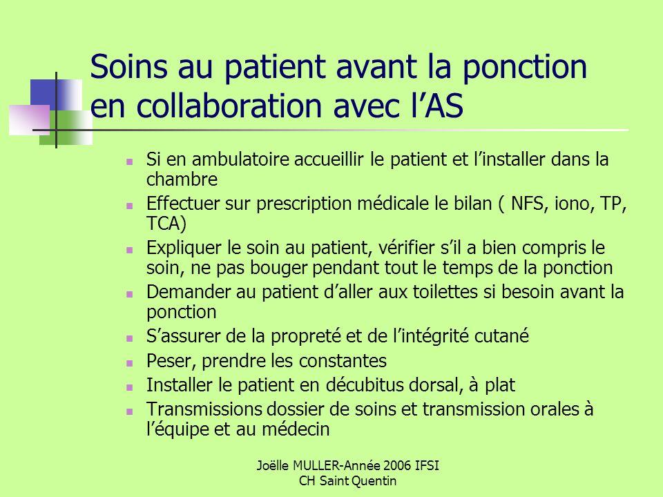 Joëlle MULLER-Année 2006 IFSI CH Saint Quentin Soins au patient avant la ponction en collaboration avec lAS Si en ambulatoire accueillir le patient et