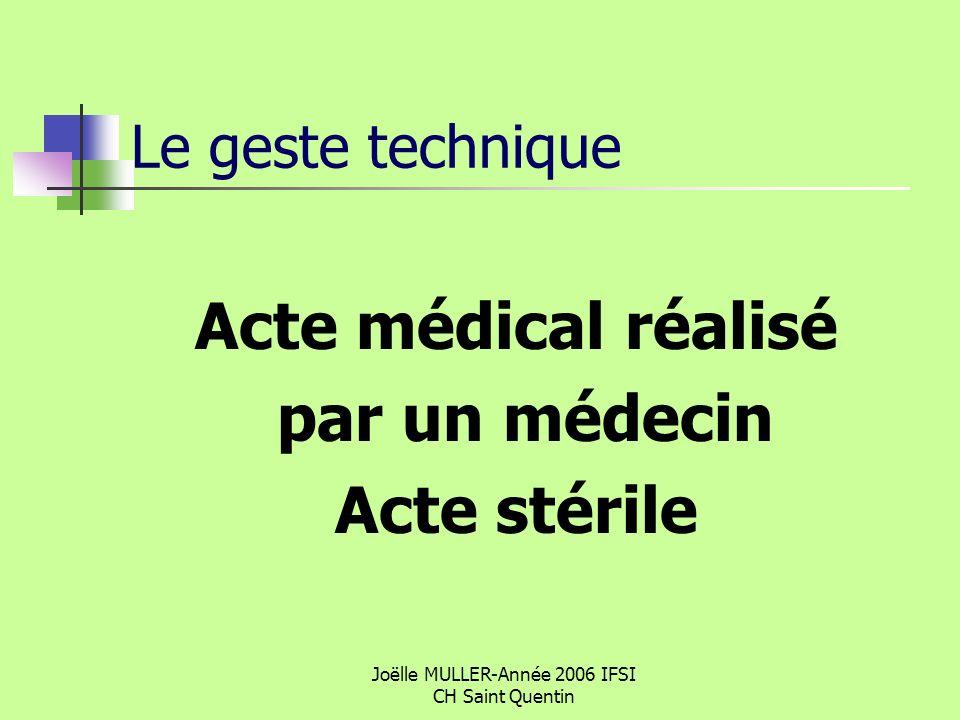 Joëlle MULLER-Année 2006 IFSI CH Saint Quentin Le geste technique Acte médical réalisé par un médecin Acte stérile