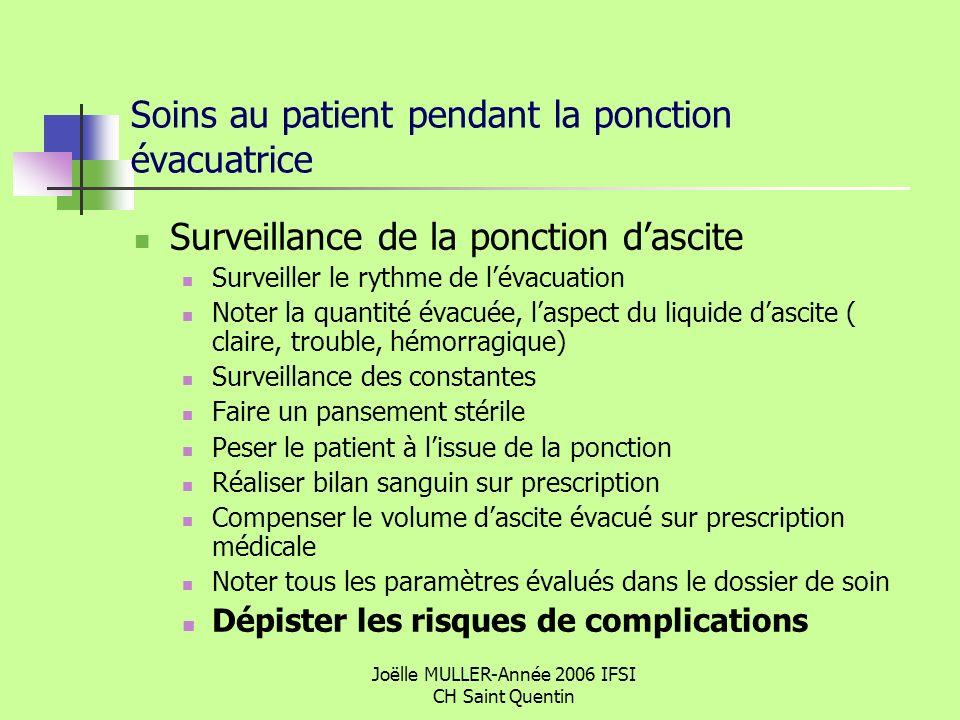 Joëlle MULLER-Année 2006 IFSI CH Saint Quentin Soins au patient pendant la ponction évacuatrice Surveillance de la ponction dascite Surveiller le ryth