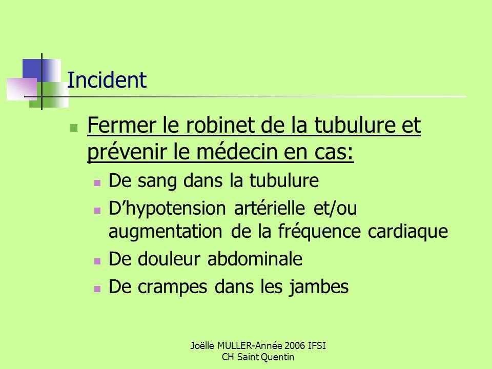 Joëlle MULLER-Année 2006 IFSI CH Saint Quentin Incident Fermer le robinet de la tubulure et prévenir le médecin en cas: De sang dans la tubulure Dhypo