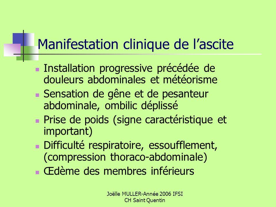 Joëlle MULLER-Année 2006 IFSI CH Saint Quentin Manifestation clinique de lascite Installation progressive précédée de douleurs abdominales et météoris