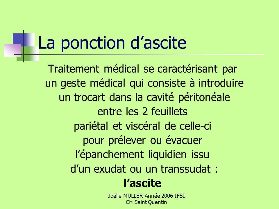 Joëlle MULLER-Année 2006 IFSI CH Saint Quentin La ponction dascite Traitement médical se caractérisant par un geste médical qui consiste à introduire