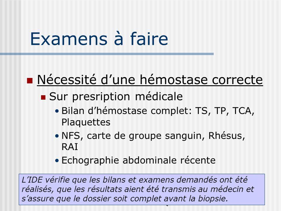 Joëlle MULLER-Année 2006 IFSI-CH Saint Quentin Examens à faire Nécessité dune hémostase correcte Sur presription médicale Bilan dhémostase complet: TS