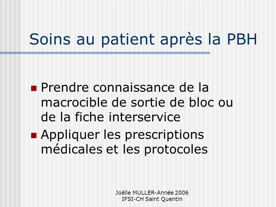 Joëlle MULLER-Année 2006 IFSI-CH Saint Quentin Soins au patient après la PBH Prendre connaissance de la macrocible de sortie de bloc ou de la fiche in