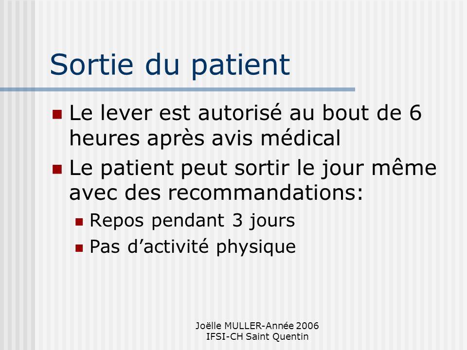 Joëlle MULLER-Année 2006 IFSI-CH Saint Quentin Sortie du patient Le lever est autorisé au bout de 6 heures après avis médical Le patient peut sortir l