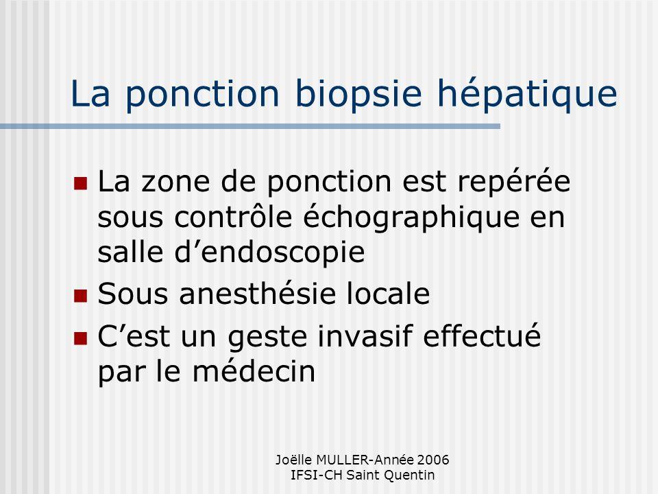 Joëlle MULLER-Année 2006 IFSI-CH Saint Quentin La ponction biopsie hépatique La zone de ponction est repérée sous contrôle échographique en salle dend