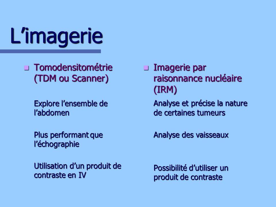 Limagerie Tomodensitométrie (TDM ou Scanner) Tomodensitométrie (TDM ou Scanner) Explore lensemble de labdomen Plus performant que léchographie Utilisa