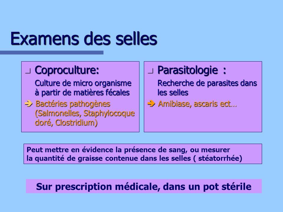 Examens des selles Coproculture: Coproculture: Culture de micro organisme à partir de matières fécales Bactéries pathogènes (Salmonelles, Staphylocoqu