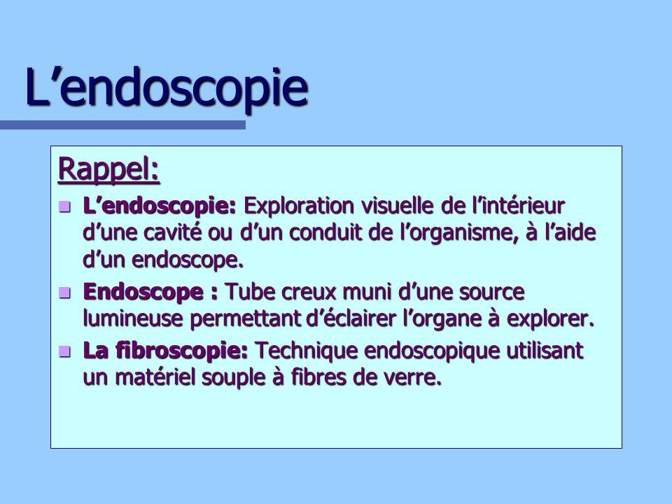 Lendoscopie Rappel: Lendoscopie: Exploration visuelle de lintérieur dune cavité ou dun conduit de lorganisme, à laide dun endoscope. Lendoscopie: Expl