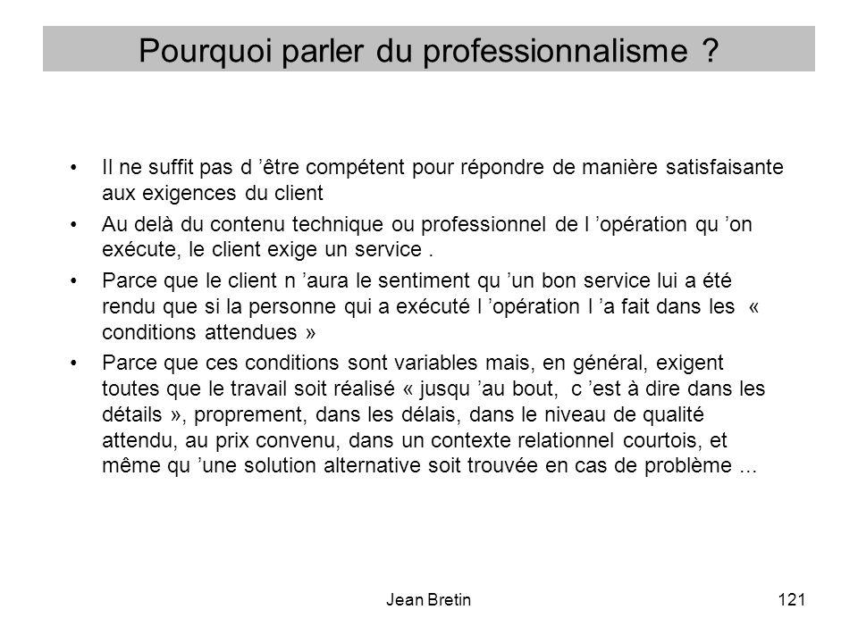 Jean Bretin121 Pourquoi parler du professionnalisme .