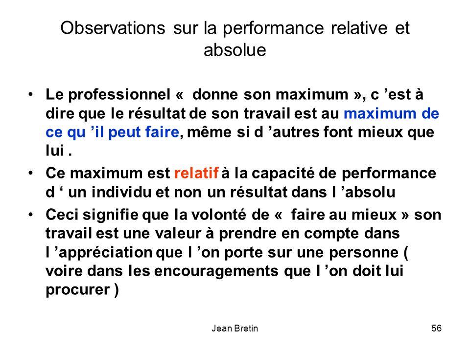 Jean Bretin56 Observations sur la performance relative et absolue Le professionnel « donne son maximum », c est à dire que le résultat de son travail est au maximum de ce qu il peut faire, même si d autres font mieux que lui.